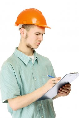 A builder is filling papers isolated on white stock vector