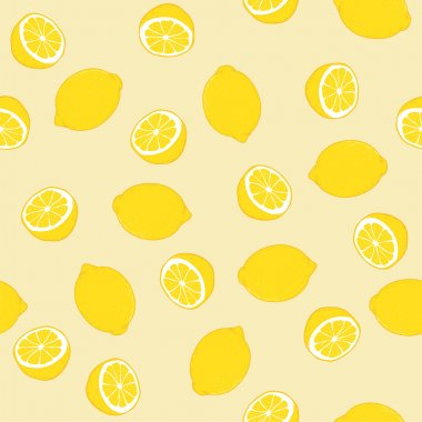 Seamless background with a yellow lemon