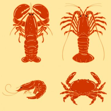 Cartoon seafood object: shrimp, crab, lobster, crayfish