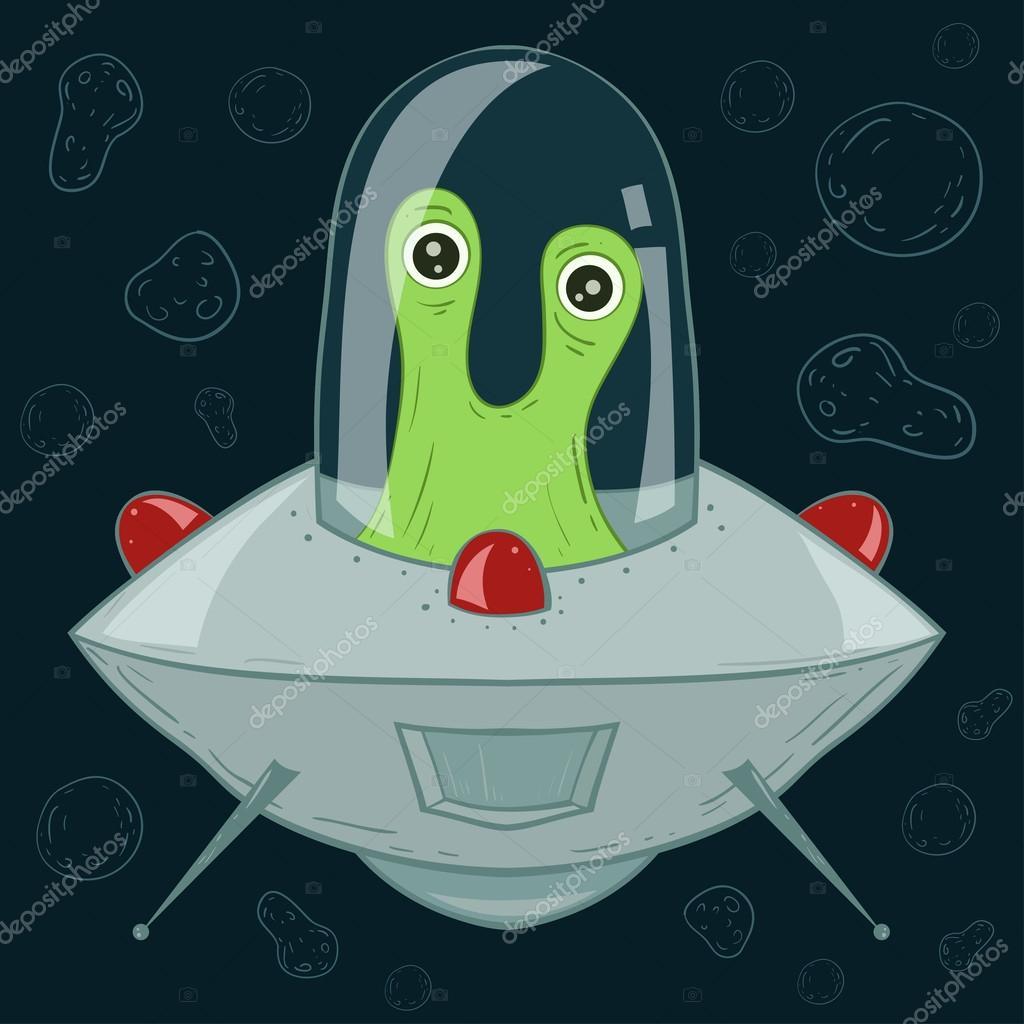 Ufo o navicella spaziale con alieni — vettoriali stock