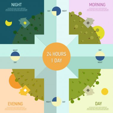 Elements of infographics with the time of day.