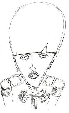 Pencil drawing of Paul McCartney. Caricature.