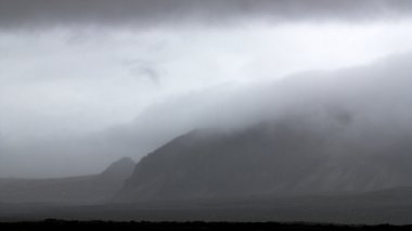 Mountains in fog in Thingvellir