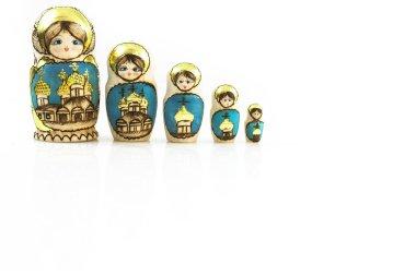 Polisch traditional Babushka dolls in line