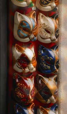 Feline Masks Used In Masquerade For Carnival In Venice Italy Europe