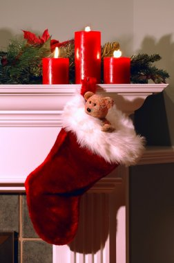 Christmas Stocking Hanging From Fireplace Mantle