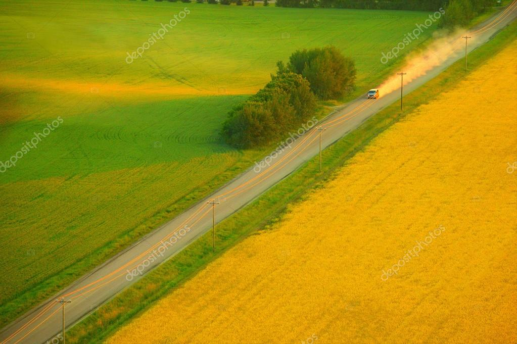 A Highway And Farm Land