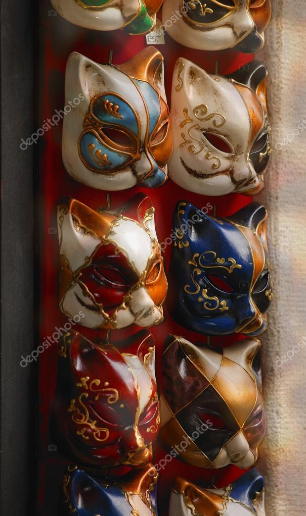Feline Masks Used In Masquerade For Carnival In Venice Italy Europe stock vector