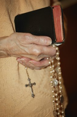 Rosary Beads And Bible Held