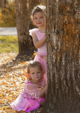 Two Little Fairy Girls In The Autumn Forest