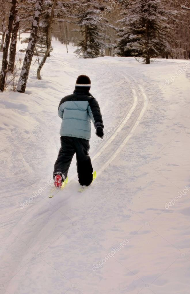 Young Child Cross Country Skiing