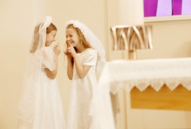Girls Taking Their First Communion