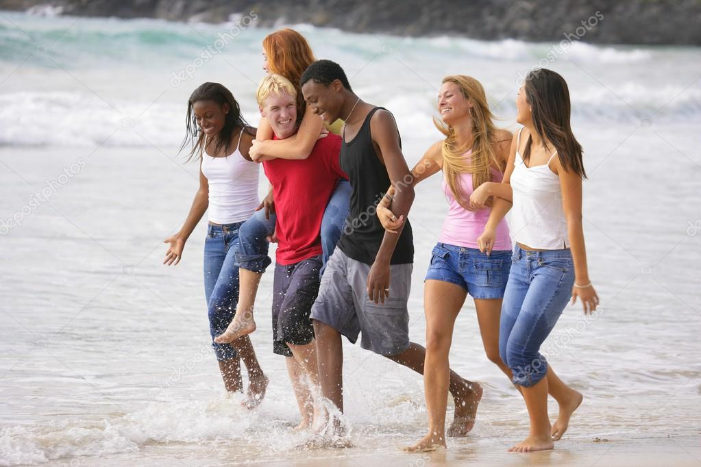 Group Of Teenagers At The Beach