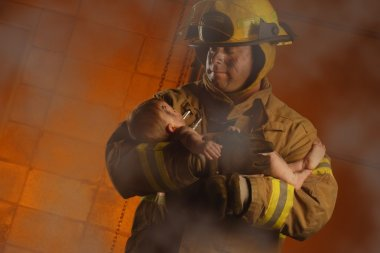 Fireman Rescuing A Baby