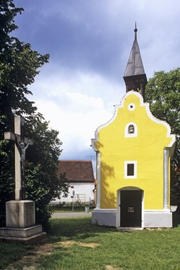 Yellow Building In Graveyard
