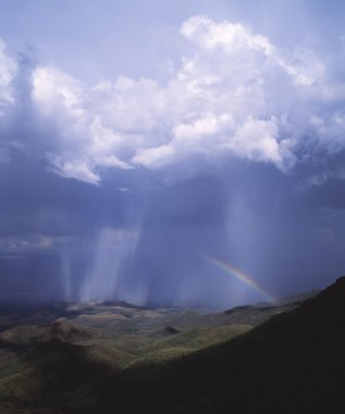 Rainstorm And Rainbow In The Verde Valley