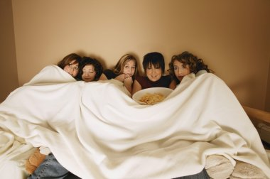 Group Of Girls Watching A Movie