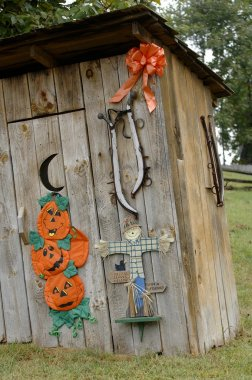 Outhouse Decorated For Halloween