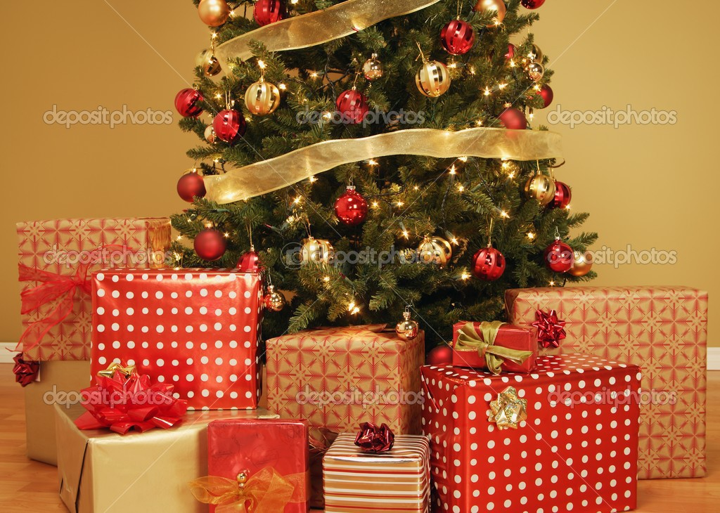 Christmas Tree With Presents Underneath Stock Photo