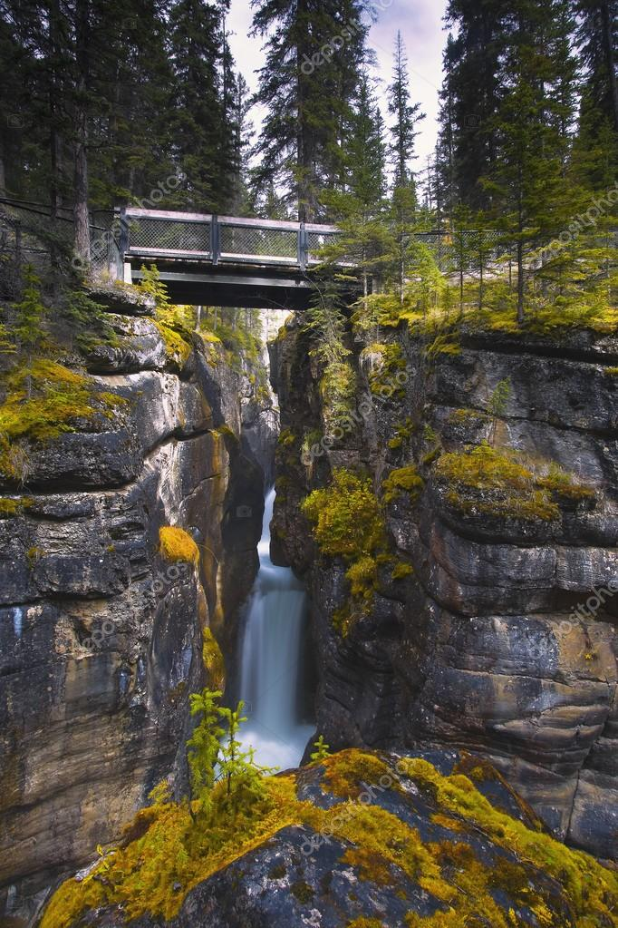 Maligne Canyon Waterfall, Jasper National Park, Jasper, Alberta, Canada