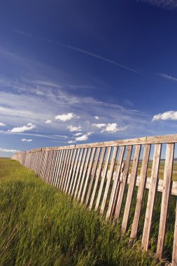 Wooden Boundary Fence In Southern Alberta, Canada
