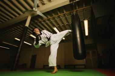 A Man Practicing Martial Arts