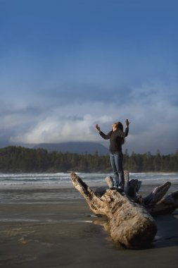 Woman With Raised Hands On The Beach