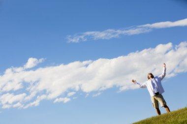 Man Worshipping Outdoors