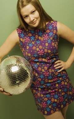 Laughing Girl Holding A Disco Ball