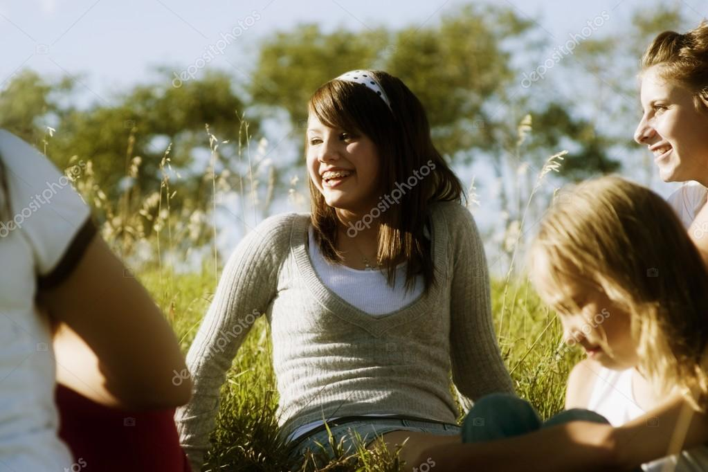 Young Girls Talking Outdoors