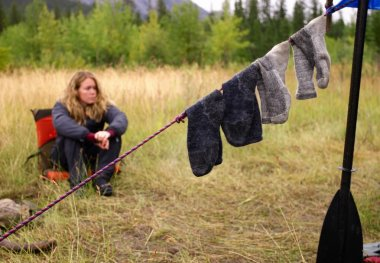 Socks Drying In Camp