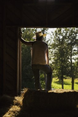Man Wearing Work Gloves And Cowboy Hat Stands In Barn Leaning In Doorway And Looking Out