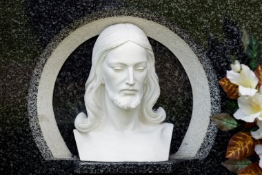 Carved Image Of Christ's Head stock vector