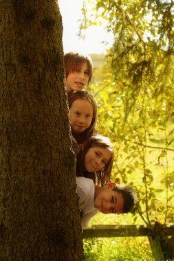 Kids Hiding Behind Tree Trunk