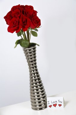 I Love You Card With Roses In A Vase