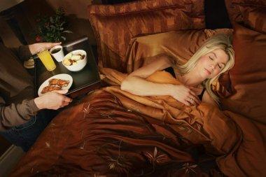 Woman Getting Breakfast In Bed