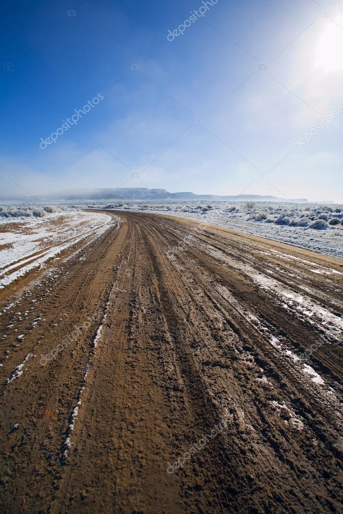 Melting Snow On Dirt Road