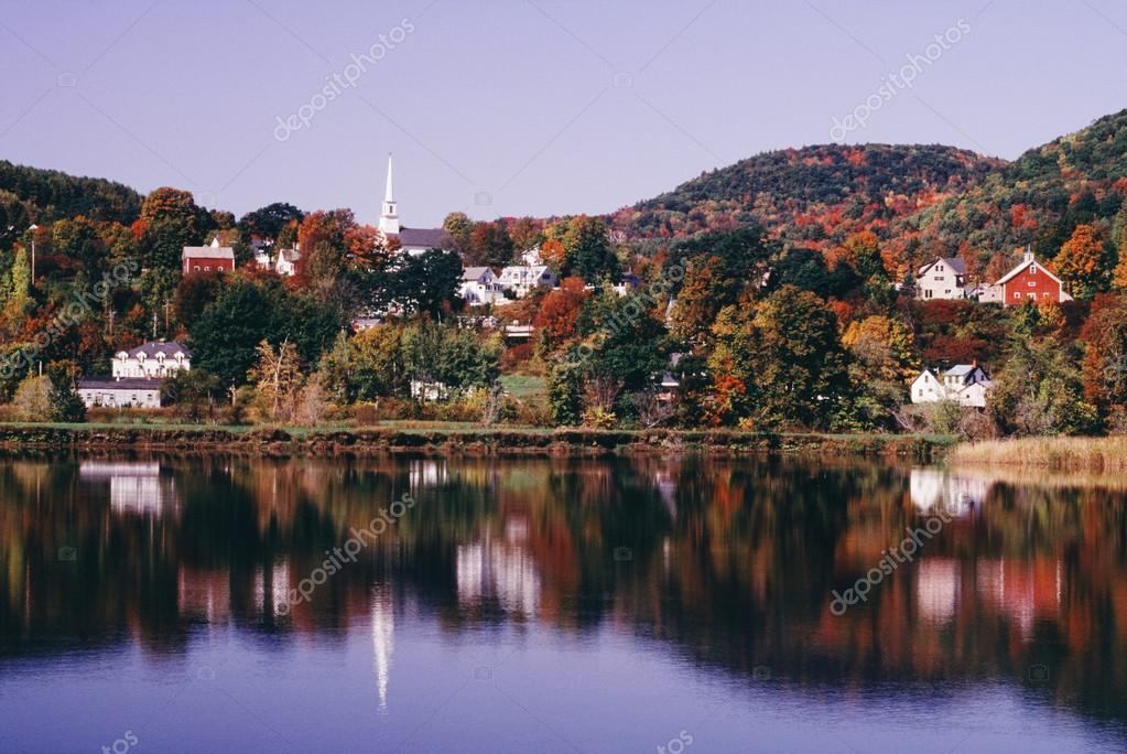 New England Town Of Barnet Reflected In Water, Vermont, Usa