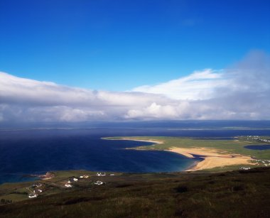 Achill Island, Co Mayo, Blacksod Bay & Ridge Point From Above Doogort Village, Ireland