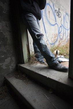 Person Beside Graffiti