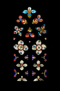 Gothic Stained Glass Window In Spanish Church Of San Severino, Balmaseda, The Basque Country, Spain