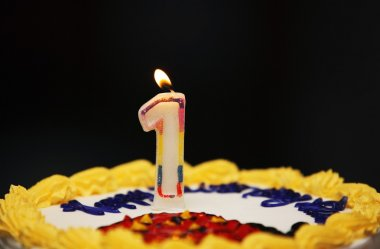 A Birthday Cake With Lit Candle