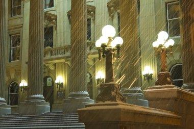Alberta Legislature At Night During Snowstorm