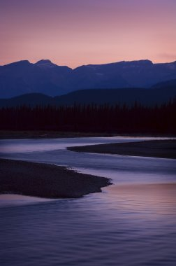 Mountain Sunset Over Athabasca River