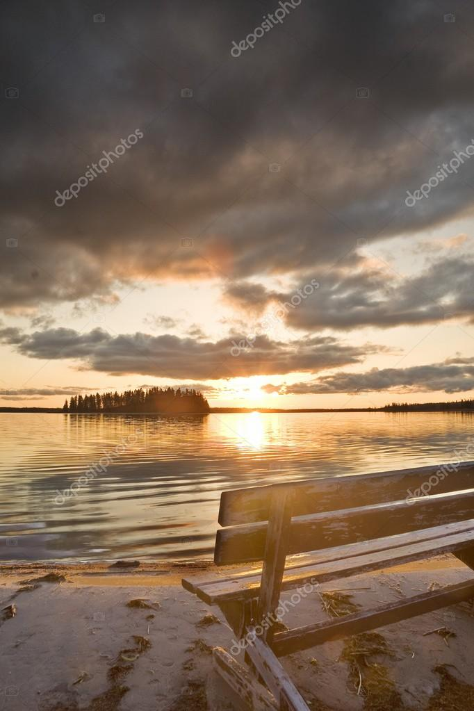 A Bench Overlooking Astotin Lake At Elk Island National Park, Alberta, Canada