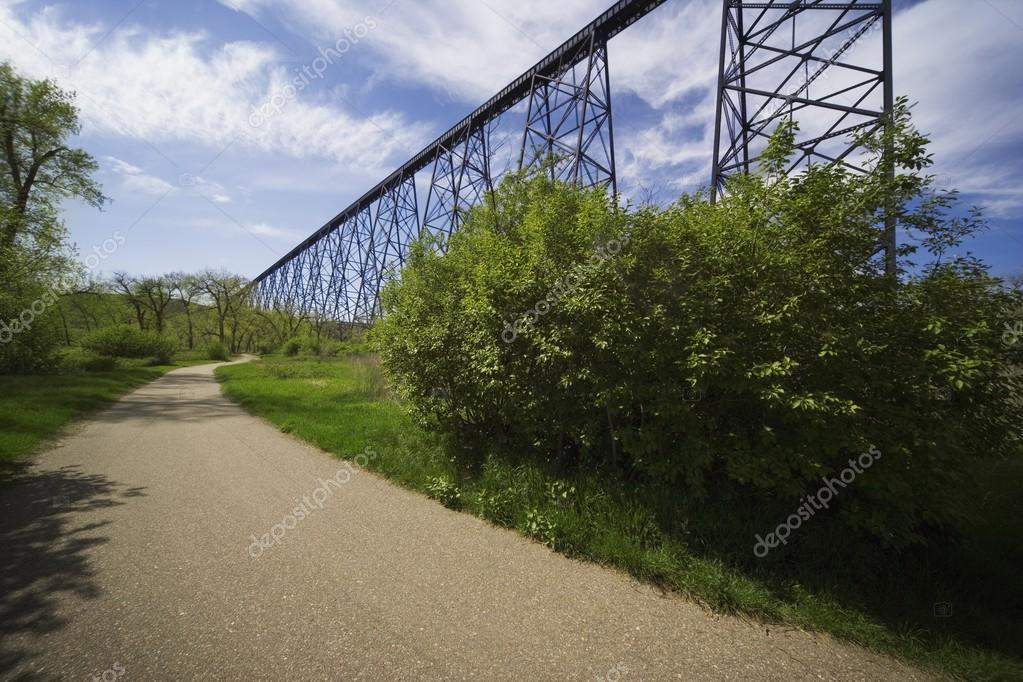 Road Alongside A Railway Bridge In Lethbridge, Alberta