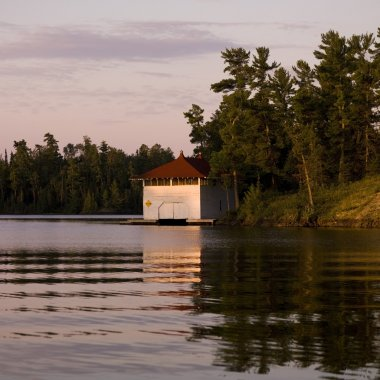 Lake Of The Woods, Ontario, Canada, Little Cabin On The Lake