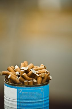 A Can Full Of Cigarette Butts