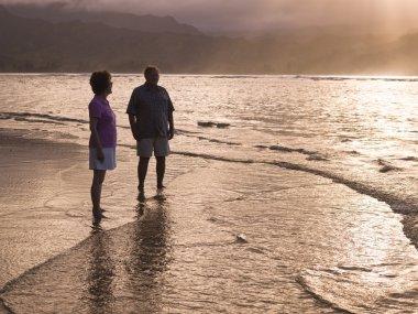 Couple On The Beach In Kauai, Hawaii, Usa