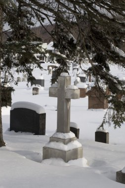 Gravestones In A Cemetery Covered In Snow